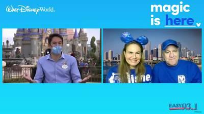 Giselle and Jeff talk to Walt Disney World Ambassador, Stephen Lim